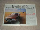 1983 2pg Audi 100 Car Ad - Faster Than A BMW, NICE!