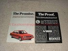 1985 2pg Renault Alliance Car Ad The Promise The Proof!