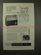 1960 Zenith Trans Oceanic Radio Ad - Give the Elegance!