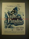 1945 A Night In Paradise Movie Ad w/ Merle Oberon, Bey!