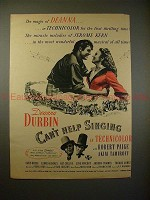 1945 Can't Help Singing Movie Ad, Deanna Durbin, Paige!