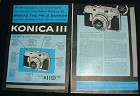 1956 Konica III Camera 2pg Ad - Out of Expensive Class!