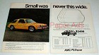 1976 AMC Pacer X Car Ad - Small Never This Wide!