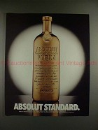 1989 Absolut Vodka Ad - Absolut Standard - Gold Bar!!
