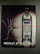 1989 Absolut Vodka Ad - Absolut Attraction - Martini!!