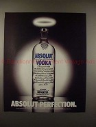 1990 Absolut Vodka Ad - Absolut Perfection - Angel Halo