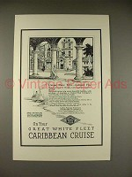 1923 Great White Fleet Caribbean Cruise Ad - Unique