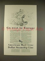 1928 American Mail Line Cruise Ad - West to Europe
