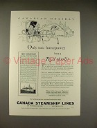 1930 Canada Steamship Lines Ad - Only One Horsepower