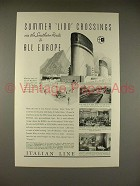 1934 Italian Line Cruise Ship Ad, Summer Lido Crossings