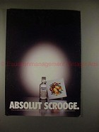1998 Absolut Vodka Ad - Absolut Scrooge - Tiny Bottle!!