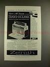 1957 Zenith Trans-Oceanic Radio Ad - Tune in the World!