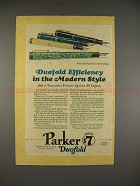 1928 Parker Duofold Pen Ad - Efficiency in Modern Style