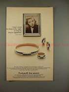 1982 Fortunoff Jewelry Ad w/ Lauren Bacall - Sapphires!