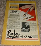 1929 Parker Duofold Pen Ad, Modern Black & Pearl!