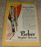 1929 Parker Duofold DeLuxe Pen Ad - Stylish, Efficient!