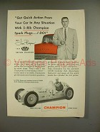 1955 Champion 5-Rib Spark Plugs Ad w/ Jim Bryan