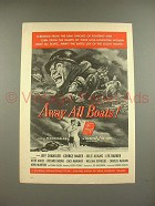 1956 Away All Boats Movie Ad w/ Jeff Chandler