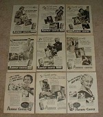 HUGE Lot of 48 Airway Coffee Ads, 1939-1942 - NICE!!