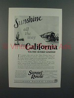 1925 Southern Pacific Lines Sunset Limied Train Ad