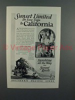 1925 Southern Pacific Lines Sunset Limited Train Ad