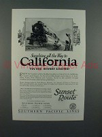 1926 Southern Pacific Lines Sunset Limited Train Ad