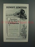 1926 Southern Pacific Lines Sunset Limited Train Ad - Sunshine