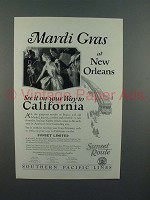 1926 Southern Pacific Lines Sunset Limited Train Ad - Mardi Gras