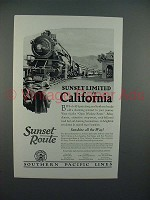 1926 Southern Pacific Lines Sunset Limited Train Ad - To California