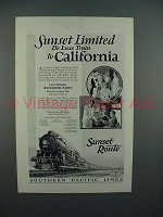1927 Southern Pacific Lines Sunset Limited Train Ad