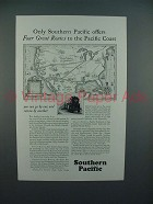 1928 Southern Pacific Lines Railroad Ad - Four Great Routes
