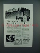 1929 Southern Pacific Lines Railroad Ad - Desert