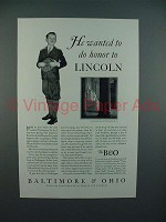 1931 Baltimore & Ohio Railroad Ad - Honor Lincoln