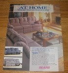 1990 4-page Sears Ad - Wallhugger Sofa; Royal Court Linens; Spring Air Mattress