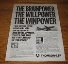 1986 3-page Thomson-CSF Advertisement - The Brainpower The Willpower